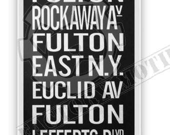 Vintage NYC Fulton Subway Sign Art