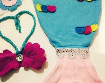 Mermaid Blanket set, headband and chest seashells, OOAK newborn gift