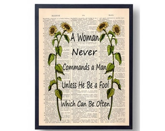A Women Never Commands a Man,Dictionary Art Print, Upcycled,  Dictionary Book Page Art, Love Quotes, Wall Art, Original Art Print