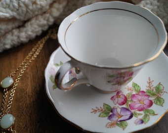 Hand painted Colclough bone china Teacup and Saucer