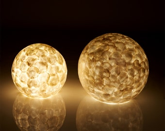 Natural White Capiz Globe Shell Lamps for Table or Floor