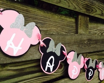Minnie Mouse Birthday Banner, Pink and Black Minnie Banner, Hot Pink and Black Minnie Banner, Red and Black Minnie Banner