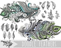 Feather Doodle Clipart - feather clipart, instant download clip art, commercial use, feather doodles, hand drawn Zentangle design elements