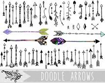 Arrow Doodle Clipart - arrow clipart vectors, instant download clip art, commercial use, doodle arrows, hand drawn Zentangle design elements