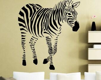 Zebra Wall Sticker Africa Wild Animals Nursery Vinyl Decal Home Room Interior Decoration Waterproof High Quality Mural (48xx)