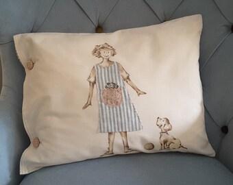 Alice Handpainted Pillow, Vintage Fabric , Handmade Cushion.