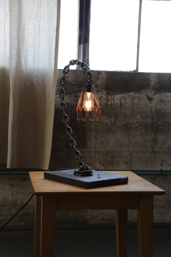 Items Similar To Curve Chain Table Lamp Industrial Rust