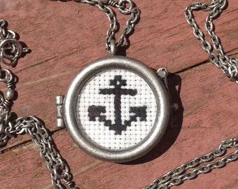 "Anchor Cross Stitch Locket Necklace - ""Come Ashore"""