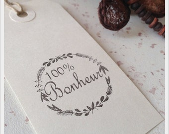 Pretty antique rubber stamp unmounted deco wreath with writing 100% happiness 3.5 cm diameter