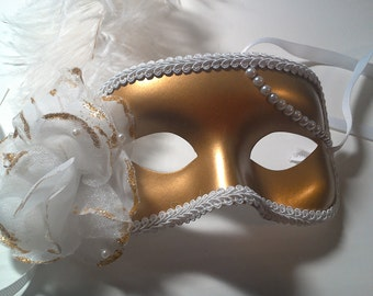 Gold Mask with White and Gold Flower