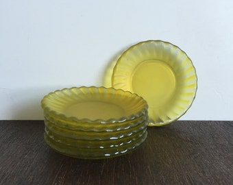 Vintage Yellow Glass Coasters - set of 6