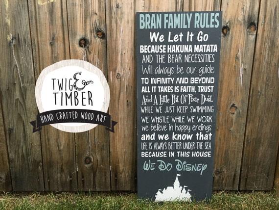 We Do Disney, FAMILY RULES - Wood Sign - DISNEY inpsired. Custom Colors!