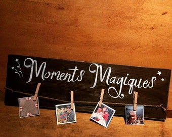"Wooden wall vintage sign ""Moments magiques"""