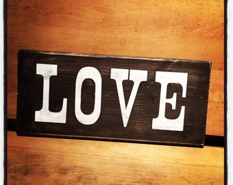 Ready to ship****Wooden wall sign LOVE brown and white