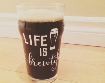"Decal ""Life is beautiful"" for beer glasses"