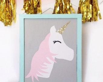 Glitter Unicorn Wood sign