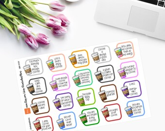 Kawaii Coffee Cups Planner Stickers - CAM00119