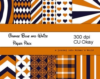 Orange, Navy Blue and White School Colors Digital Paper Digital Papers for your Digital Scrapbook Paper Pack