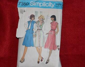 Simplicity 7350 Dress,Skirt and Top 1976