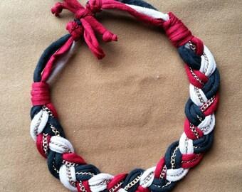 braided XL statement necklace - tshirt yarn and chains - heklinka - coloropia - handmade - free shipping