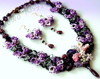 Wisteria - Tatted Wisteria Garden Necklace and Earring