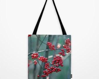 Fall Berries, Market Bag, Tote Bag, Shoulder Bag, Fine Art Photography, Seasons, Winter, Red,Green,Nature,Modern Bag,Christmas,Holiday Bag