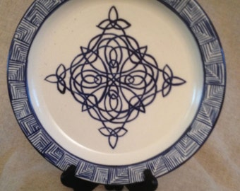 Blue and White Platter with Celtic knotwork