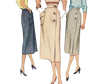 Vintage Sewing Pattern 1950s 1951 Women's Pencil Slim Skirt McCall's 8443 Waist 28 Hip 37