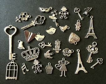 40pcs Mix Silver Charms