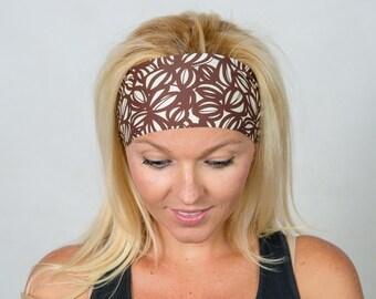 Workout Headband-Fitness Headband-Brown Yoga Headband-Running Headband-Brown Boho Headband-Fashion Headband-Women Head Wrap-Wide Headband