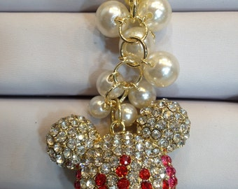 Mickey Mouse Keychain Purse Charm With Crystals Ship From NY
