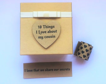Cousin 10 things I Love about message in a box Personalised Keepsake Birthday christmas Gift Present