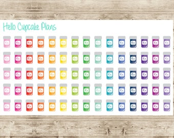 Colorful Pill Bottle Planner Stickers