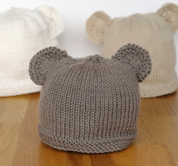 Easy baby knitting pattern - teddy bear hat - baby hat with ears - beginner k...