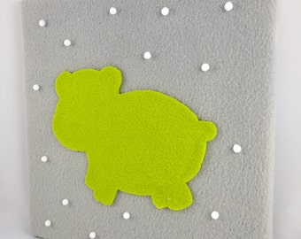 Nursery art / Home Decor / Modern Animals / Hippo One Single 12in x 12in / Green