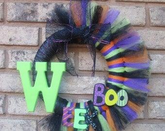 Small Inital W Halloween Tulle Wreath