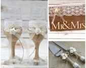 Rustic Wedding Set Guest Book Cake Cutter Set Wedding Glasses Toasting Flutes Burlap Cake Knife Set Wooden Guest Book Set of 3