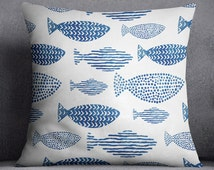 Watercolor Fish pillow cover, Sea, Modern, Scandi Pillow decor, Water theme, Minimalistic cover, Animal pillow case, Cover 20x20, Gift, Blue