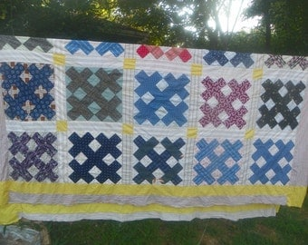 Vintage patchwork Quilt Top-25 Blocks-Shirt Material