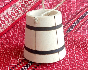 """1 Miniature wooden BUCKET 1:7 small PAIL Wood craft Project Dollhouse Miniature HOME 2,4"""""""