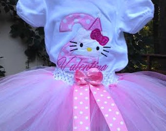 Pink Hello Kitty 2nd Birthday Outfit Onesie Tutu FREE Hair Bow Personalized