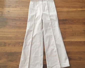 Cream and orange-flecked vintage pants