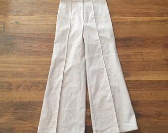 Cream and orange-flecked vintage pants