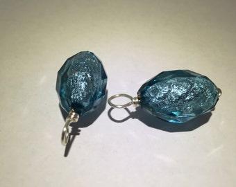 Aqua Shimmery Oval Dangles