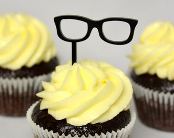 Hipster glasses cupcake topper set of 12