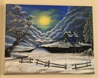 Winter scene painting
