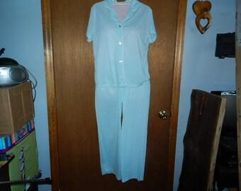 three piece vintage pajama and robe set