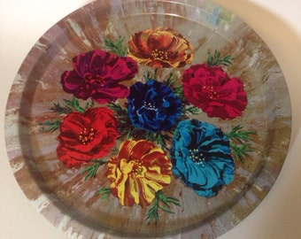 Vintage 1960's Elite Trays Floral Circle Tray Made in England