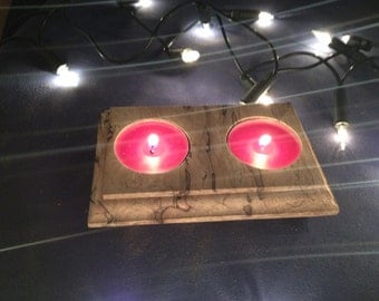 Solid Spalted Beech Duo Wooden Tealight Holder