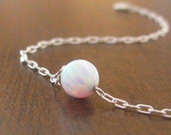 Opal bracelet, white opal bracelet, opal bead bracelet, opal silver, silver bracelet, opal jewelry, minimalist bracelet, ball b
